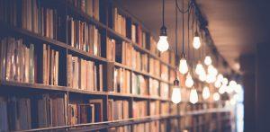 scaffali di libri con lampadine